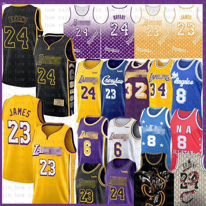 LeBron 23 James 6 Basquete Jersey Bryant Anthony Kyle Davis Kuzma 8 Homens Juventude Earrvin O'Neal Johnson Los AngelesLakers.Kobe.24.