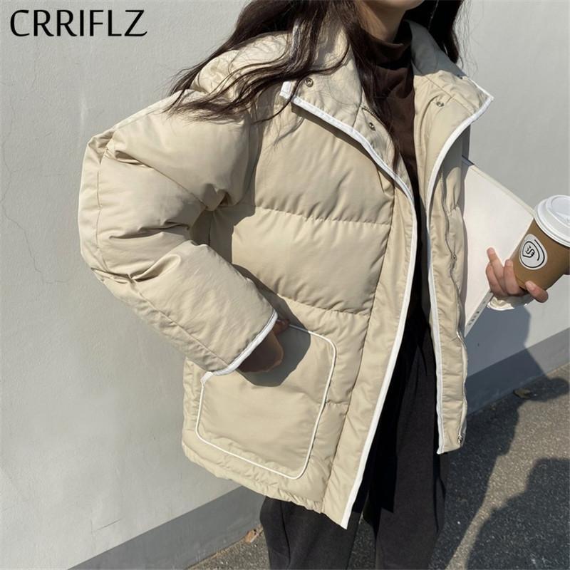 kadınlar kat için ceket kısa takım parka aşağı şık pamuklu ceket ceket giyim kadın sonbahar kış Retro kalın standı yaka