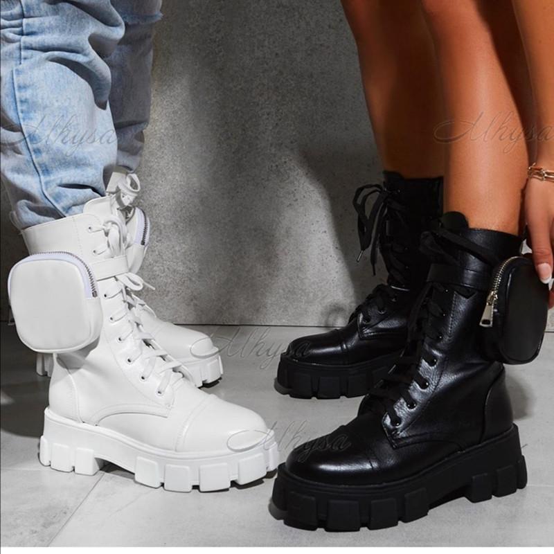 2020 منصة مكتنزة الأزياء جيب أنثى وحيد الحقيبة الكاحل أحذية نسائية بوتاس موهير زائد الحجم الجديد