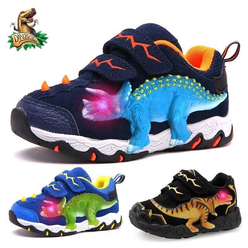 Dinoskulls 3-10 niños zapatos de otoño dinosaurio LED zapatillas de deporte brillantes 2020 zapatos deportivos infantiles 3D T-rex niños zapatos de cuero genuino 1007