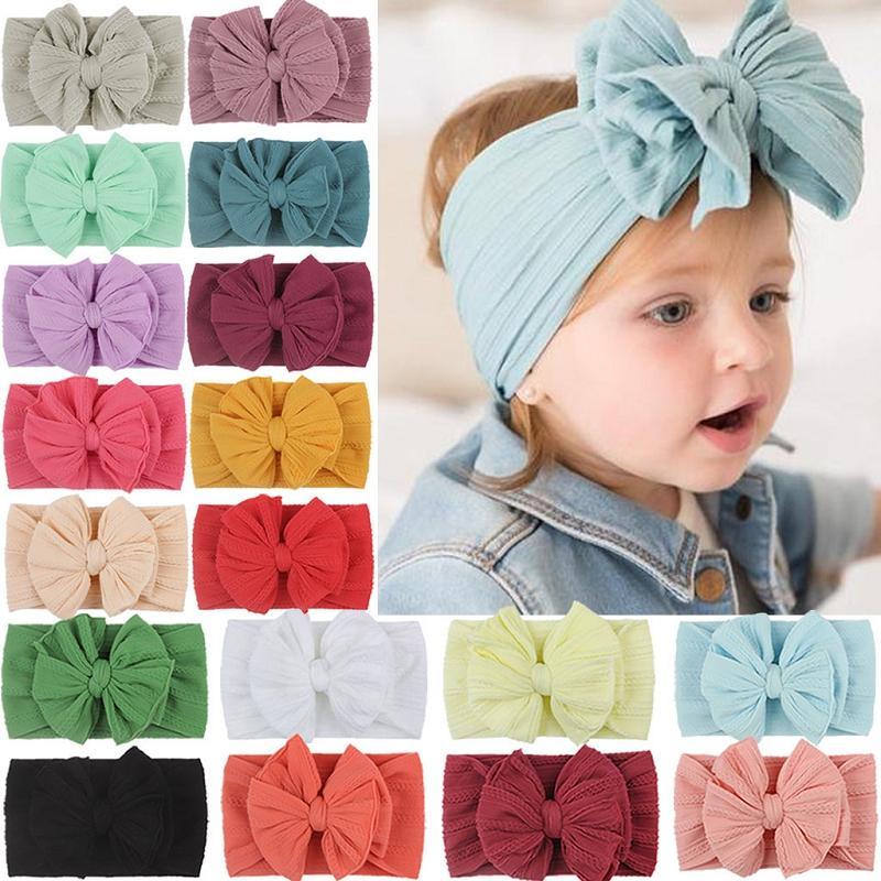 2020 Nouveaux Soft Nylon Jacquard Accessoires cheveux super bébé Serre-tête pour enfants extensible Bow Bandeaux filles Big Hair Bands Bows solides M2870