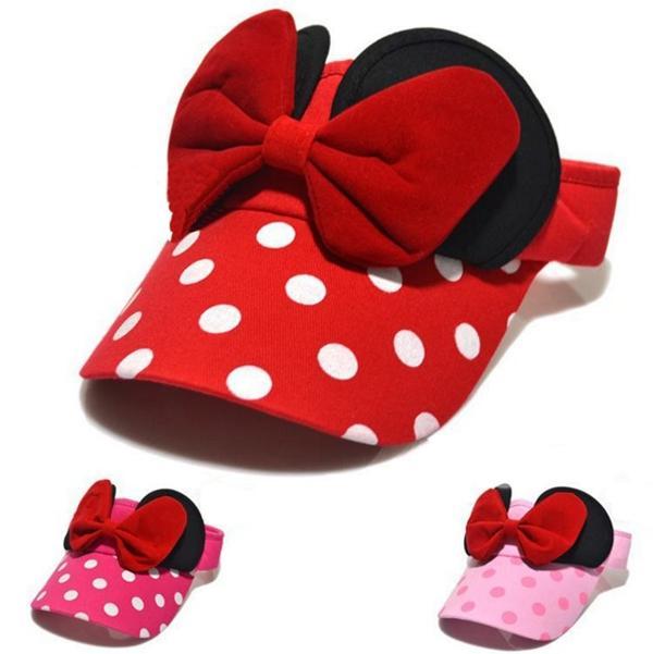 NUEVO bebé niños viseras gorras gorras historieta de dibujos animados bowknot gorros niños color sólido puntos gorras chicas sol sombrero niños sombrero de verano