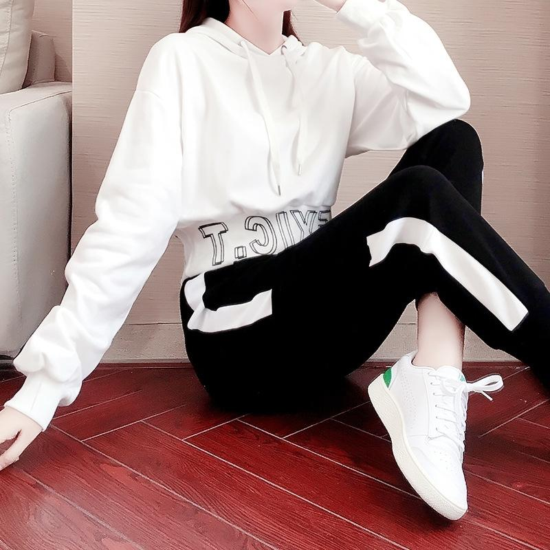 v6OuY 1022020 sports suit women's casual and winter loose autumn fashion trend Korean style sweater Western new style sweater sweaterslimming