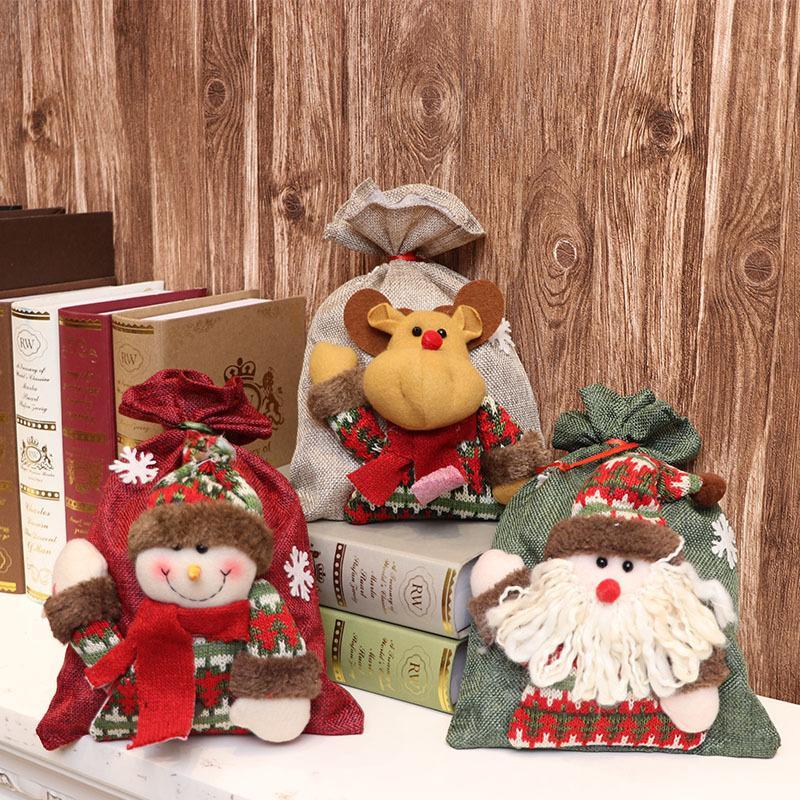 Мультфильм Рождество белья мешка Drawstring подарок для хранения белья мешка льняного луча Рождество мешка Рождество яблоко мешки Dropshipping F8101