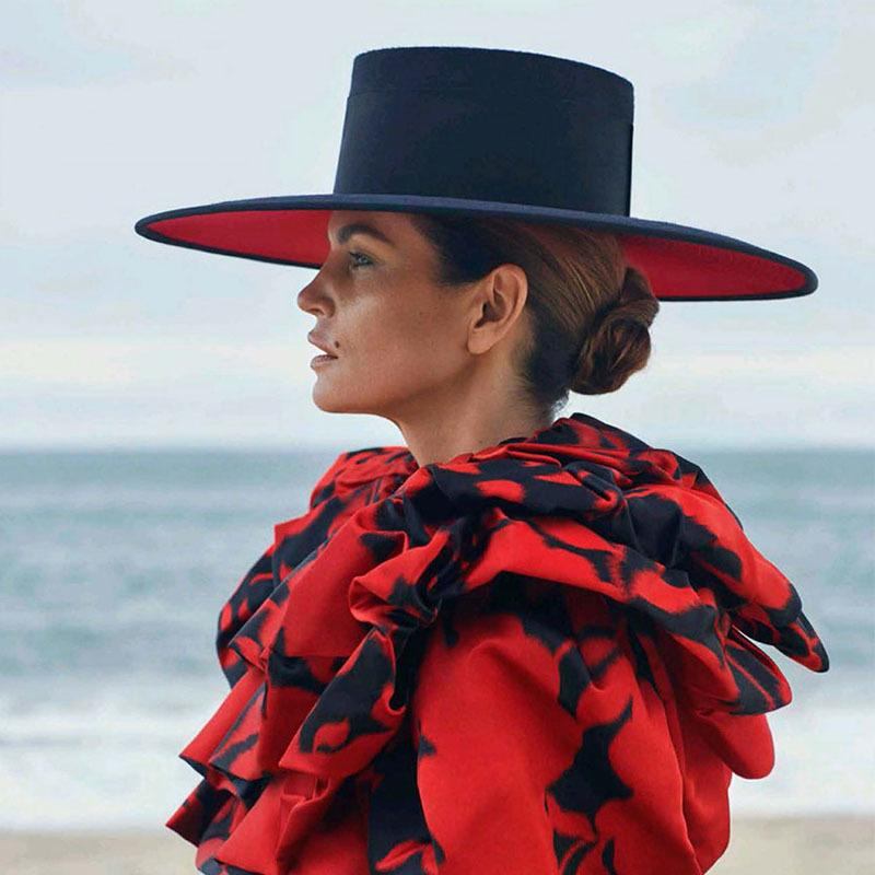 Classico Unisex largo corn giuntura a due toni lana fedora inverno warm wide brim women cappelli rosso nero signore chiesa derby vestito cappello LJ201030