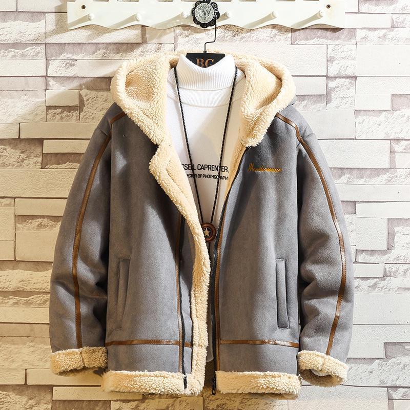 Swyivy Kış Ceketler Coat Erkekler Kuzu Dış Giyim Kapşonlu Kürk ile 2020 Yeni Kış Sahte Deri Erkek ceketler eskitmek için