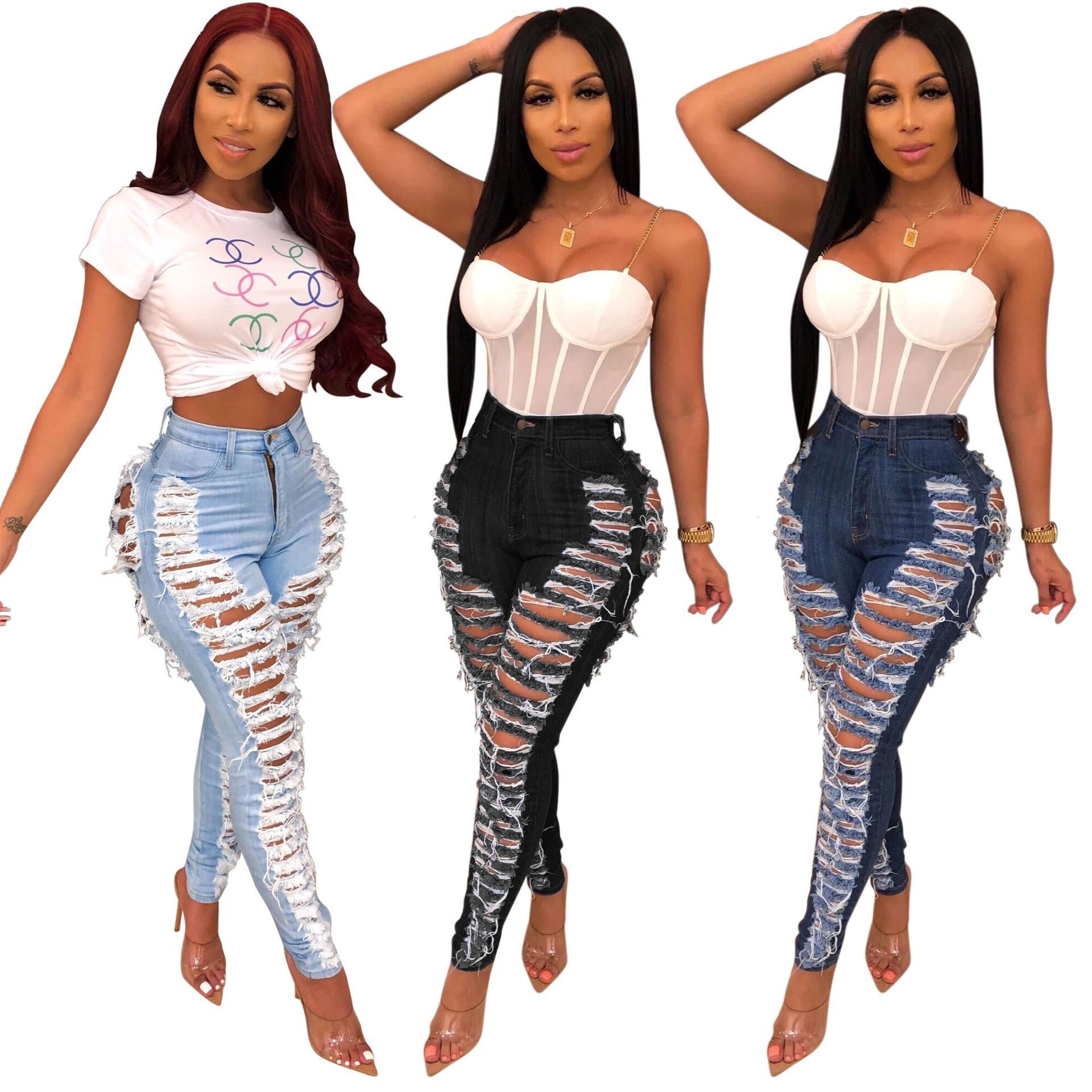 Venda quente nova moda feminina sexy personalidade buraco lavagem magro elástico jeans leggings macio e confortável longa jeans regular calças regulares