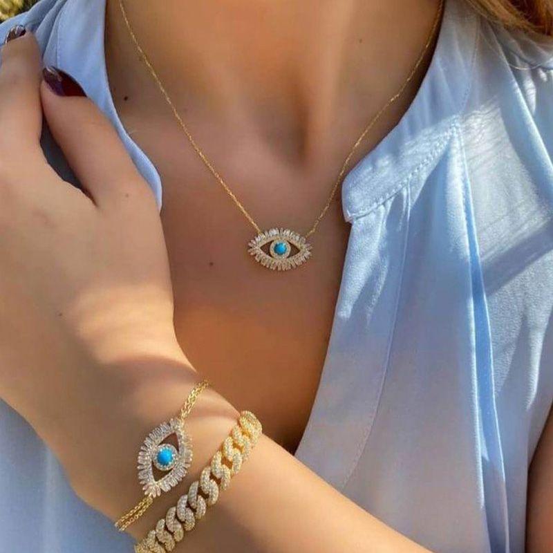 Trendy 18k placcato oro placcato turco malvagio occhio collana fortunato ragazza regalo baguette cubic zirconia turchese geomstone di alta qualità gioielli occhi malvagi