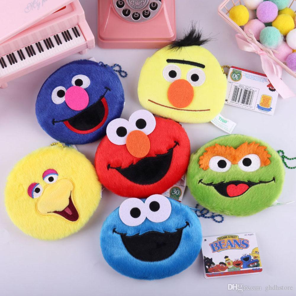 Top Nouveaux 6 Styles Sesame Street Cookie Elmo Bert Big Bird Grover Oscar en peluche Sac Anime doux Poupées meilleurs cadeaux de sacs de pièces