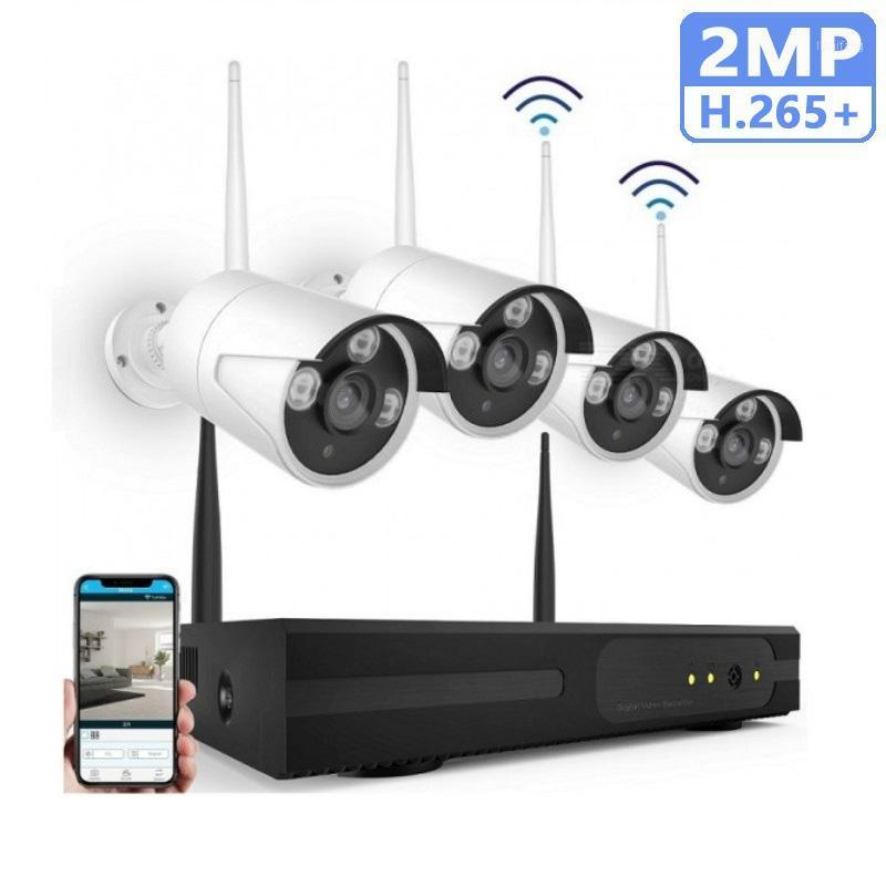 H.265 + اللاسلكية 2MP 4CH NVR Security HD DVR WiFi 1080P نظام مراقبة الفيديو مسجل 4x كاميرا في الهواء الطلق للماء CCTV كيت 1