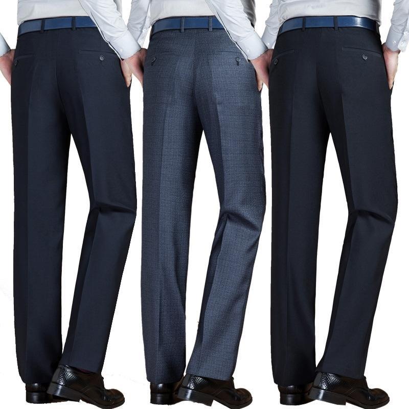 Automne hiver Nouveaux hommes Pantalon Haute Taille Lâche Business Business Costume Pantalon pour hommes Anti-Rides Pantalon 201123