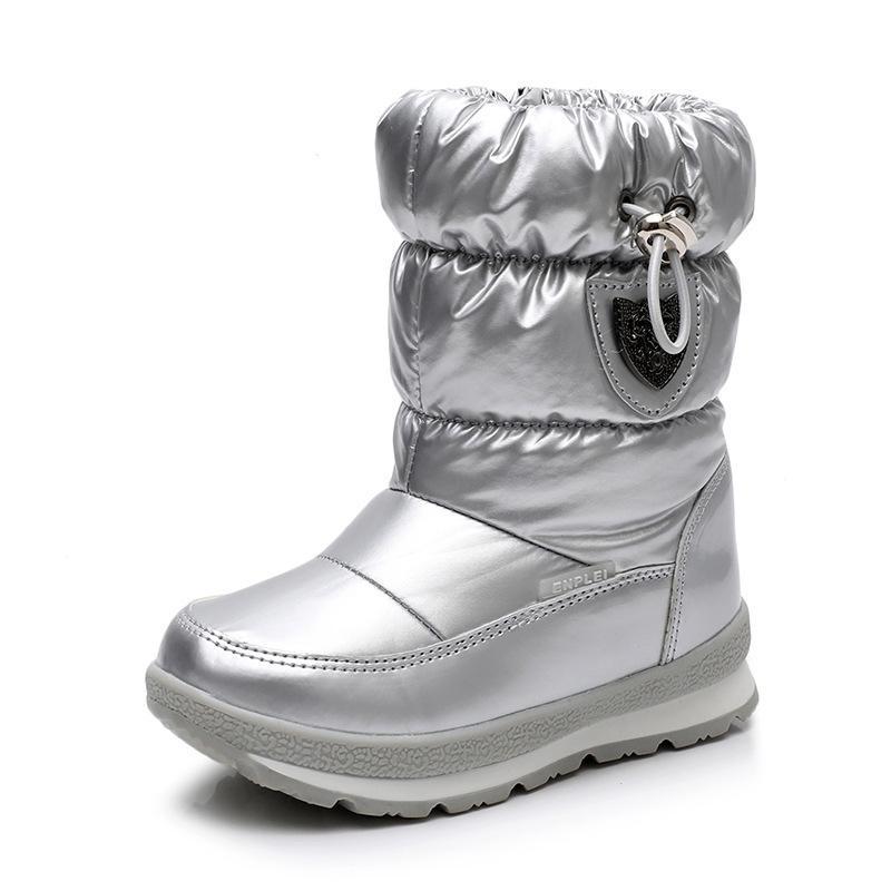 Ульнкн зимние ботинки для девочек мальчики детские ботинки новые водонепроницаемые ботас утолщение снега золото темно-зеленый 26 27 28 29 30 размер 201130
