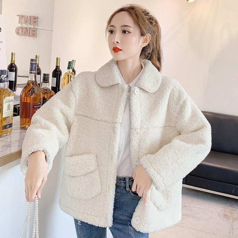 여성 모피 가짜 2021 겨울 패션 양고기 자켓 여성 짧은 둥근 목 기질 A203