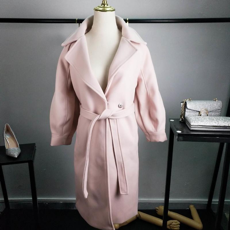 Frauen-elegante Winter-Wolle Overcoat Lange Bandage Wollmantel Cardigan Baumwolle Dickes Plus Size Abrigos Mujer Manteau Femme Hiver