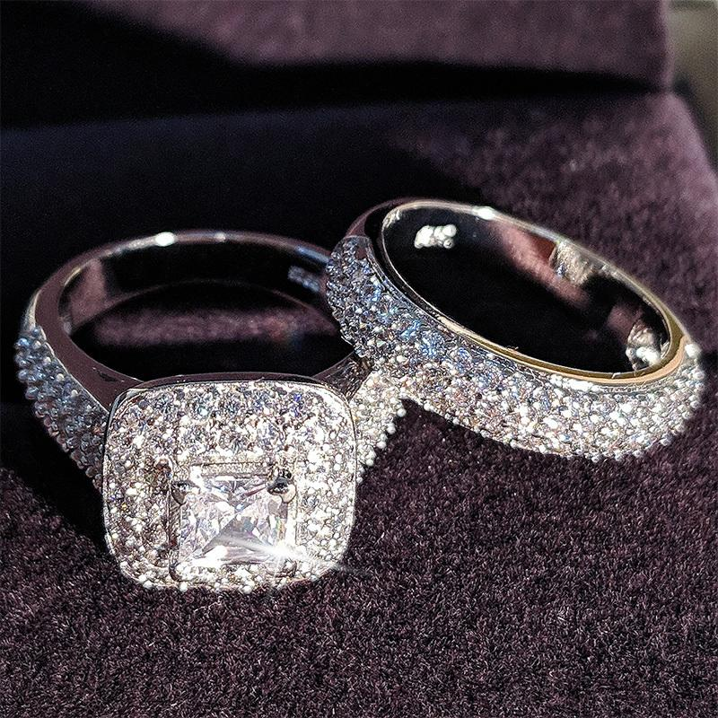 Moonso Trendy Lüks 925 Ayar Gümüş Alyans Gelin Kızlar Ve Kadınlar Için Set Band Ladys Aşk Çift Çifti Takı T200116