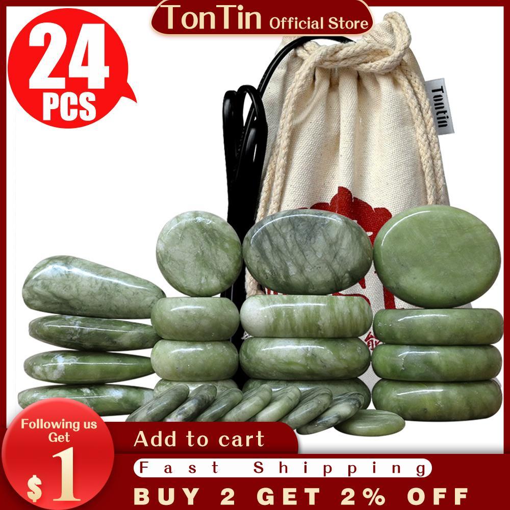 TONTIN 24 Adet / takım Yeşim Sır Sıcak Taş Masaj Seti Masaj Sırt Massageador Sağlık Stones Spa Terapi Bazalt Lava Taş Ev Sağlık için