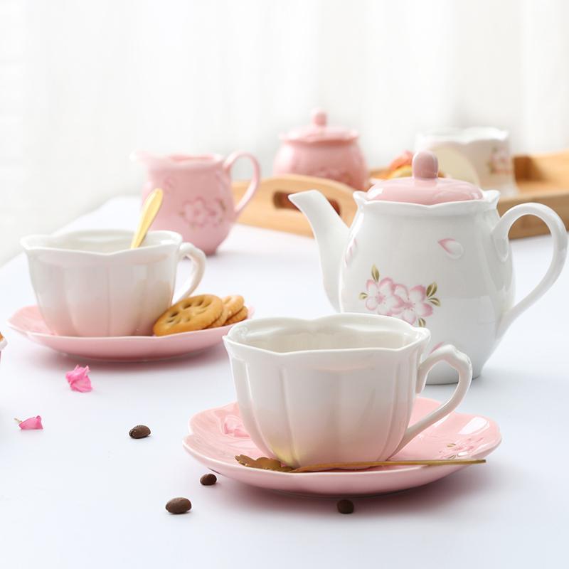 Rosa Coffee Cup Set porcelana Flor bonito Turco bandeja cerâmica caneca do chá Copo de chá e pires Set de 6 xícara de café Define AC50BD X1027