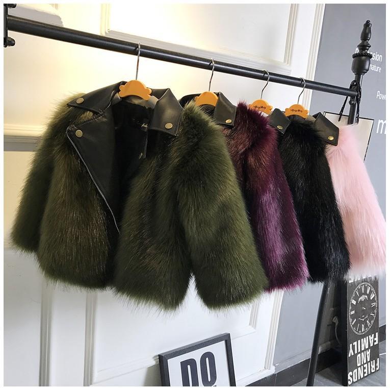 2021 novo estilo curto menina casacos de pele jaquetas imitação raposa peles artificiais grama de alta qualidade pelúcia + couro inverno crianças menino bebê outwear