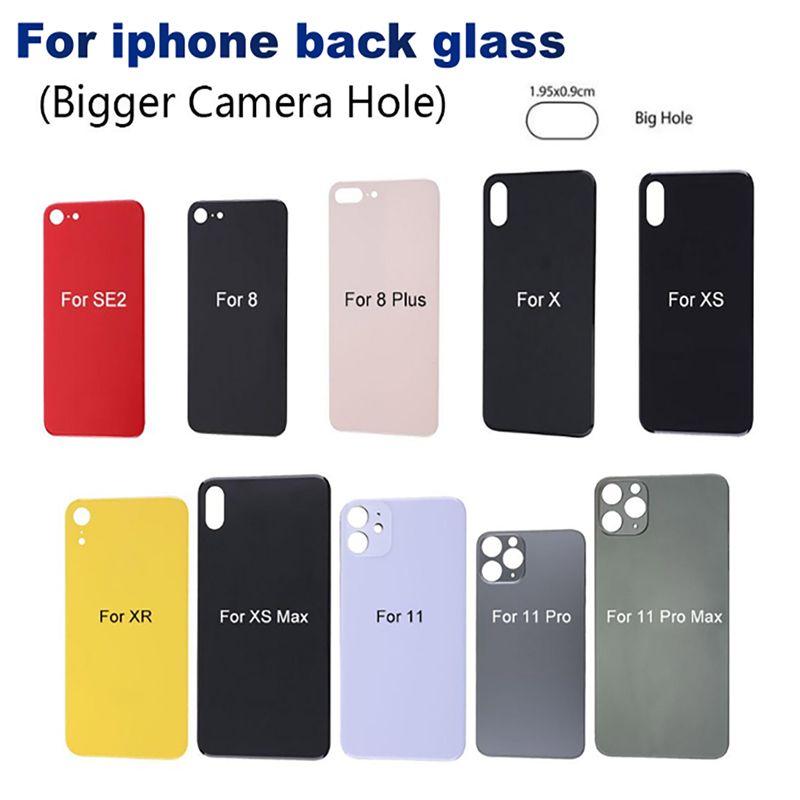 Per iPhone 11 11 Pro 8 8 più X XS MAX vetro posteriore sostituzione di vetro posteriore della batteria dell'alloggiamento della copertura in vetro della macchina fotografica grande buco