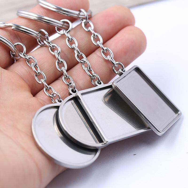 Reidgaller 2pcs anillo del acero inoxidable hecha a mano de metal Llavero de cristal Llavero cabujón Base Ajuste de resultados de la joyería de bricolaje