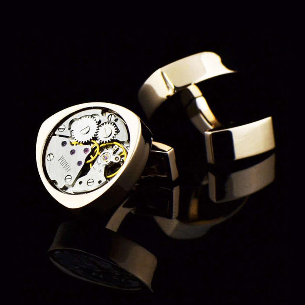 Gold Rose InBev Mouvement Punk Triangle Montre Cuff Link Link Mâle Sleeve Pin 1059Cuff Liens / 991770