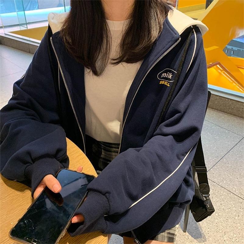 2 colori coreano in stile stile stampa donne con cappuccio cappotti caldi chiusura con cerniera giacca larghe top femminile inverno cappotto womens (x1079) 201026