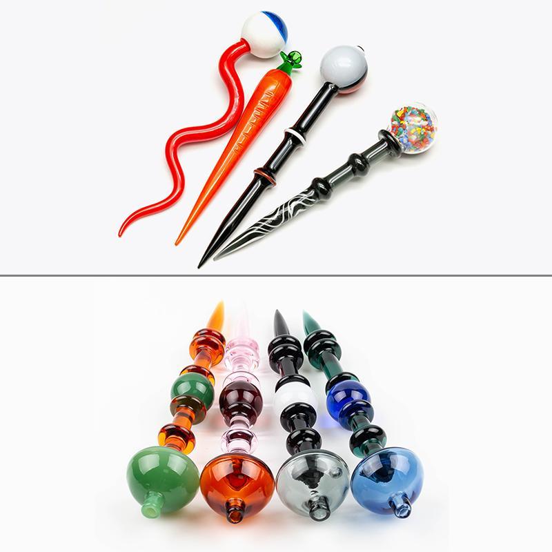 Glas Dabber Werkzeug Wachs Stange Carving Werkzeug Carb Cap für Wachs Öl Tabak Quarz Banger Nägel Glas Wasserbongs DAB Rigs Pipe