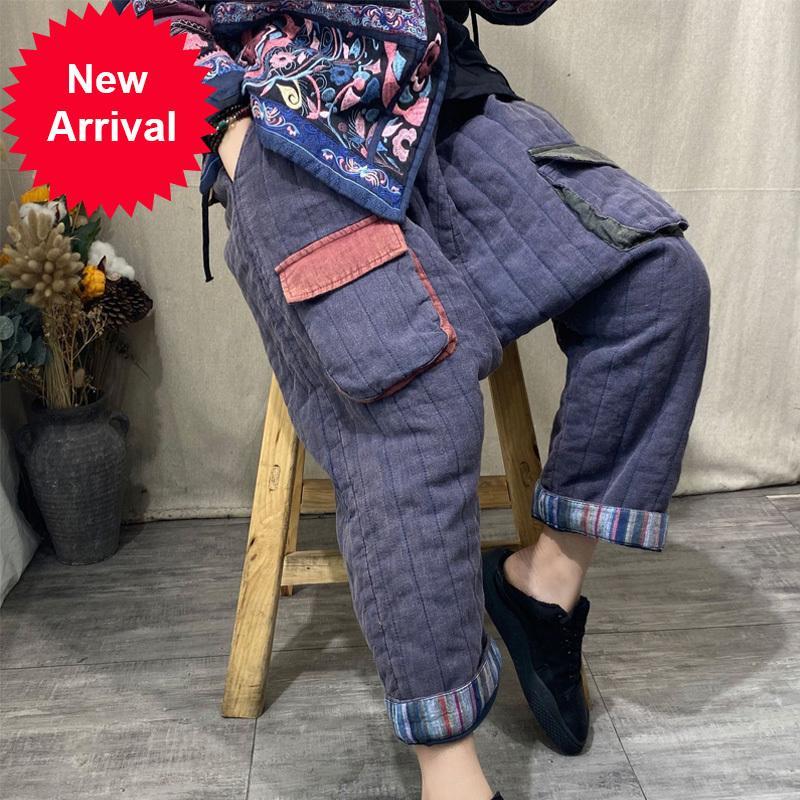 Johnature خمر سميكة الحريم السراويل مرونة الخصر القطن الكتان بنطلون 2020 شتاء جديد جيوب المرأة الدافئة الطويلة pantsntif