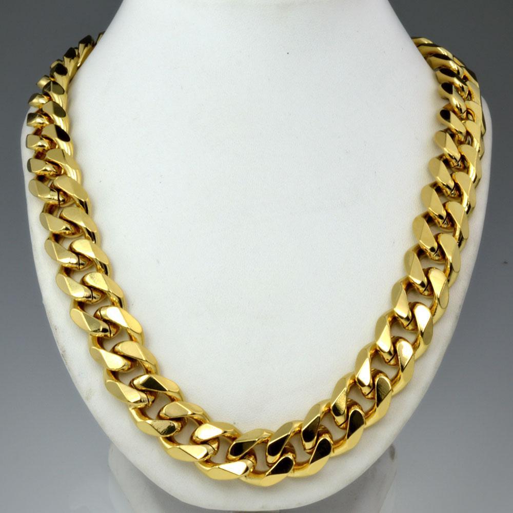 Schwere Herren 18k Gold Gefüllte feste kubanische Bordsteinkette Halskette N276 60 cm 50 cm