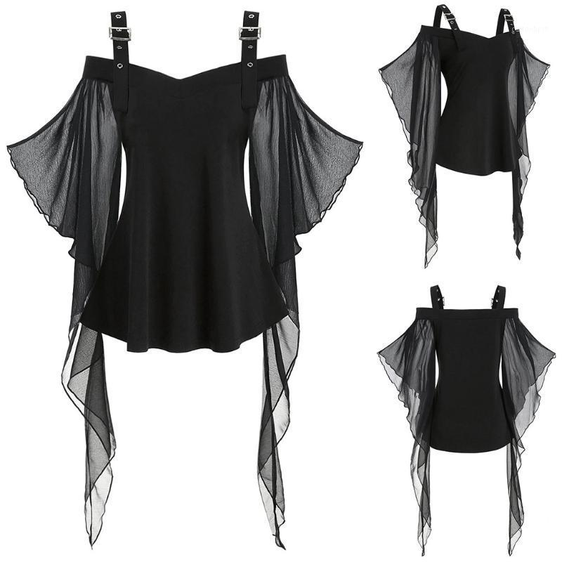 Theme Costume Women Halloween T-shirts Gothic Criss Cross Lace Plus Size Insert Butterfly Sleeve T-shirt Fashion Tops1