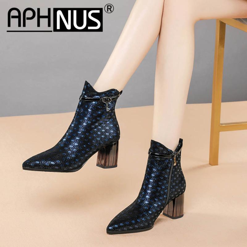 APHNUS Bayan Çizme Kısa Bilek Patik Kadın Orta Yüksek Topuklar Kadınlar Yeni Boot Zipper için 2020 Ayakkabı