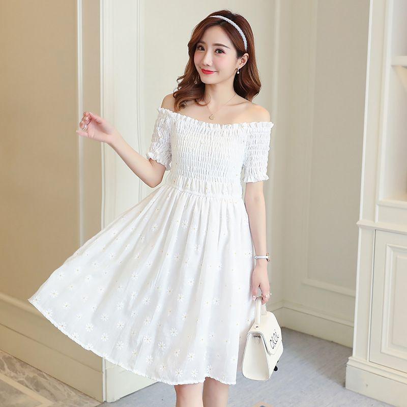 Grossesse Des vêtements d'été blanc cassé robes de vêtements de robes de maternité robe grossesse d'impression épaule femmes