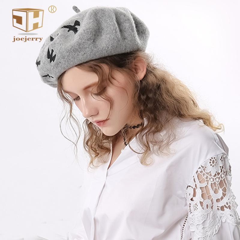 Шерсть Берет Женский Вышивка Птицы Симпатичные береты шапки для женщин французского Painter Hat моды