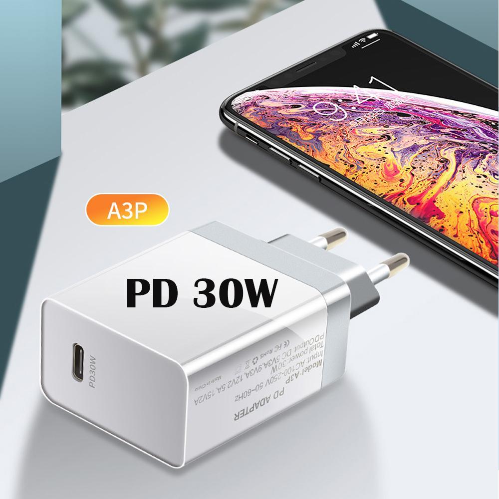 30W PD شاحن QC4.0 QC3.0 USB نوع C سريع شاحن جديد المنتج الولايات المتحدة PLUG المملكة المتحدة في الاتحاد الأوروبي PLUS الاختياري