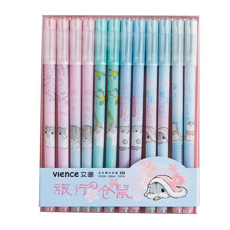 12 PC / sistema animal lindo de la pluma del gel Negro 0,5 mm de tinta gel Bolígrafos de Kawaii coreana de los efectos de la Escuela para oficina regalo