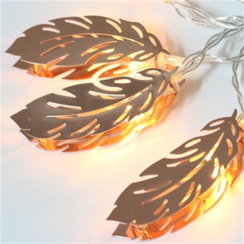 1.5m 10 LED String Light Light Warm White Lights Metal Feather Foglia Lampada a forma di foglia Lanterna decorativa per la camera da letto Party 9TF E1