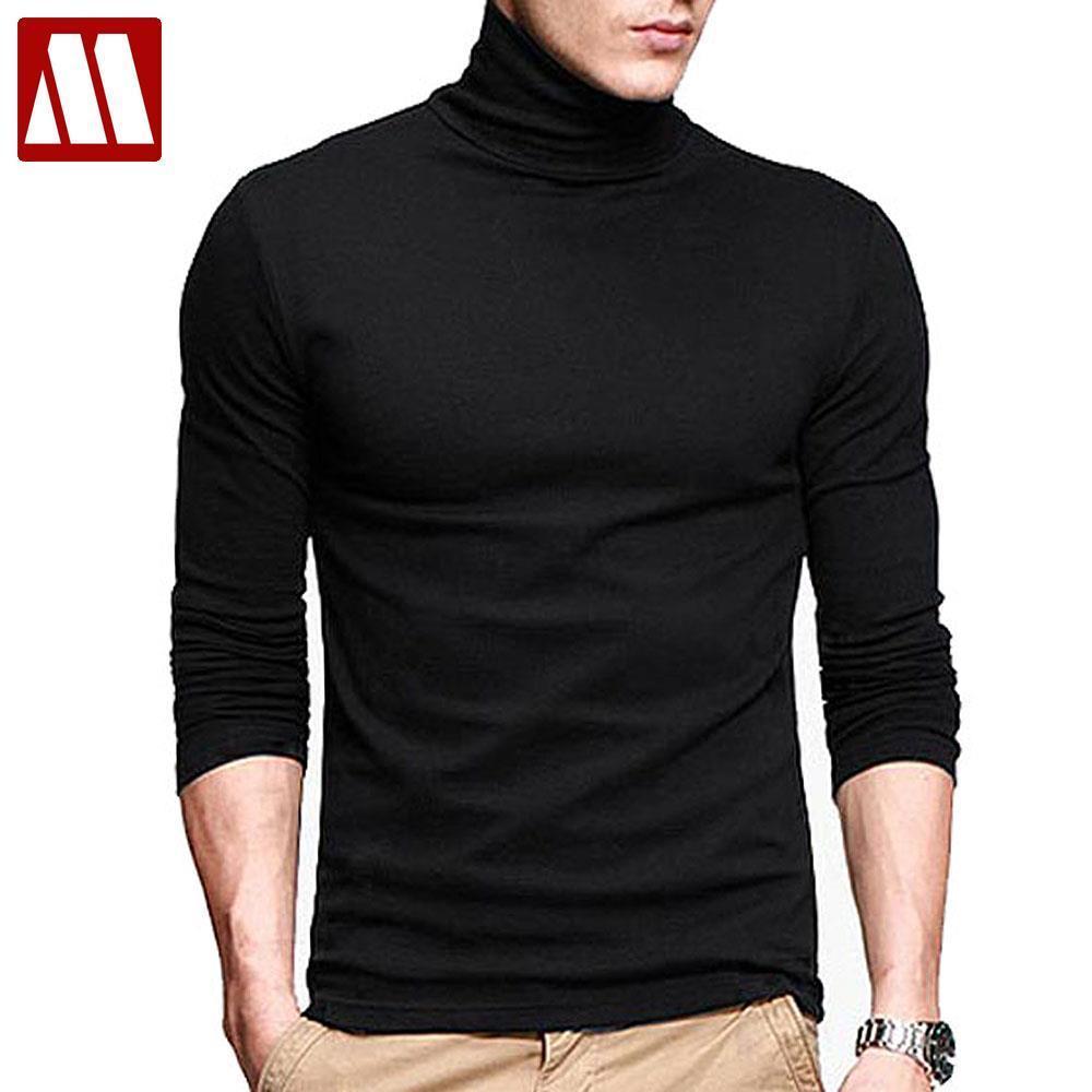 Yeni Erkekler moda t shirt tee İnce uzun Tee Gömlekler Yüksek yaka Erkekler pamuk Tees 201.004 kollu erkek streç tişört balıkçı yaka Tops