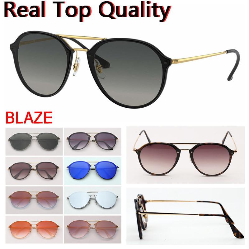 Дизайнерские солнцезащитные очки Blaze двойной мост круглые мужские солнцезащитные очки женщины солнцезащитные очки оттенок с кожаным чехлом, тканью, все розничная zsthh