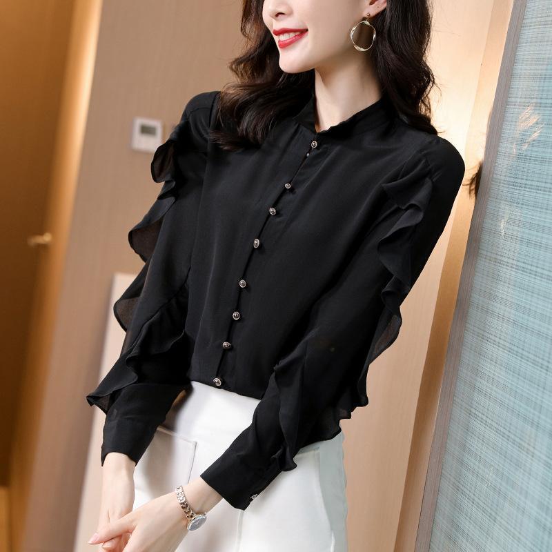 100% seda camisa mujer negro top femenino manga larga elegante blusa coreano moda ropa primavera otoño 2021 ropa mujer pph3700