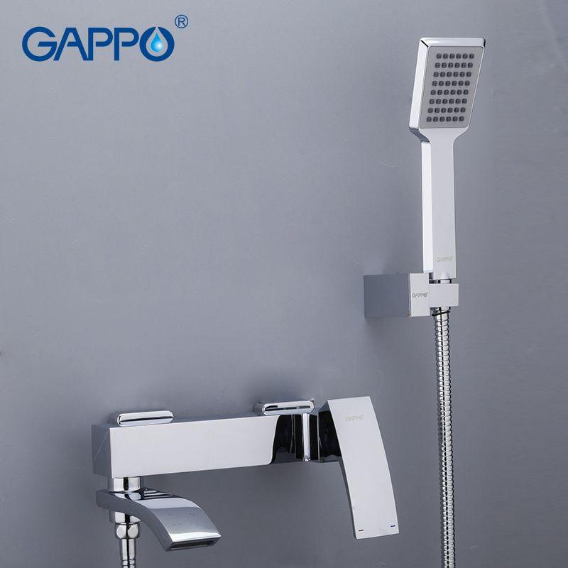 Gappo Brass Home Rubinetti da bagno Cascata Cascata Testate Chrome Mixer Acqua Tap Acqua Set doccia da bagno LJ201211