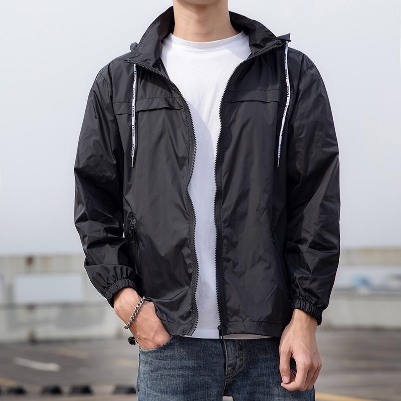 Verano delgada de la chaqueta con capucha de los hombres de secado rápido para hombre cazadora de protección solar de la capa telas luz macho chaquetas recorrido al aire libre para los hombres 201014