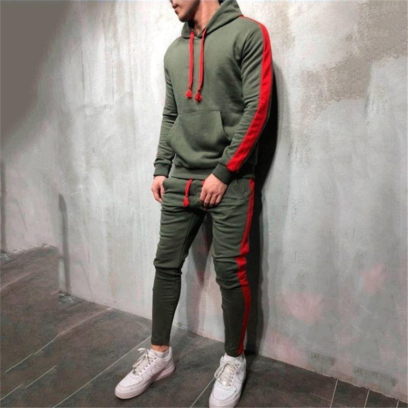 Sıcak Moda Erkekler Koşu Seti 2 ADET Nefes Spor Takım Elbise Eşofman Erkek Spor Salonu Spor Hip Hop Hoodies Tişörtü 3XL 201116