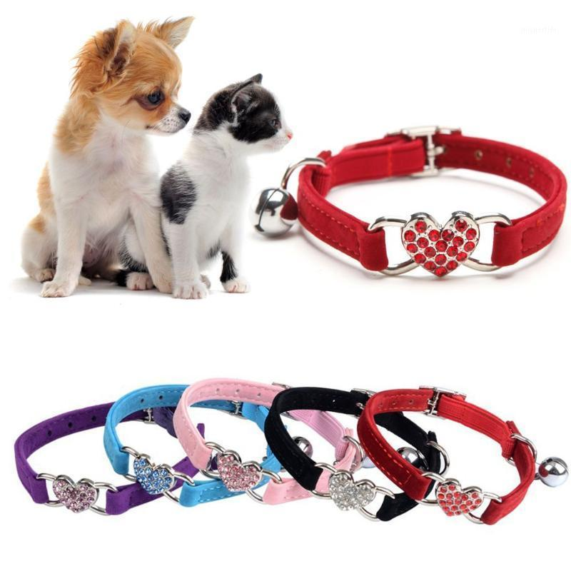 1 pc filhote de cachorro elástico sino coração forma pet colar de veludo animal de estimação colar de cão ajustável gola gato gatinho suprimentos new1