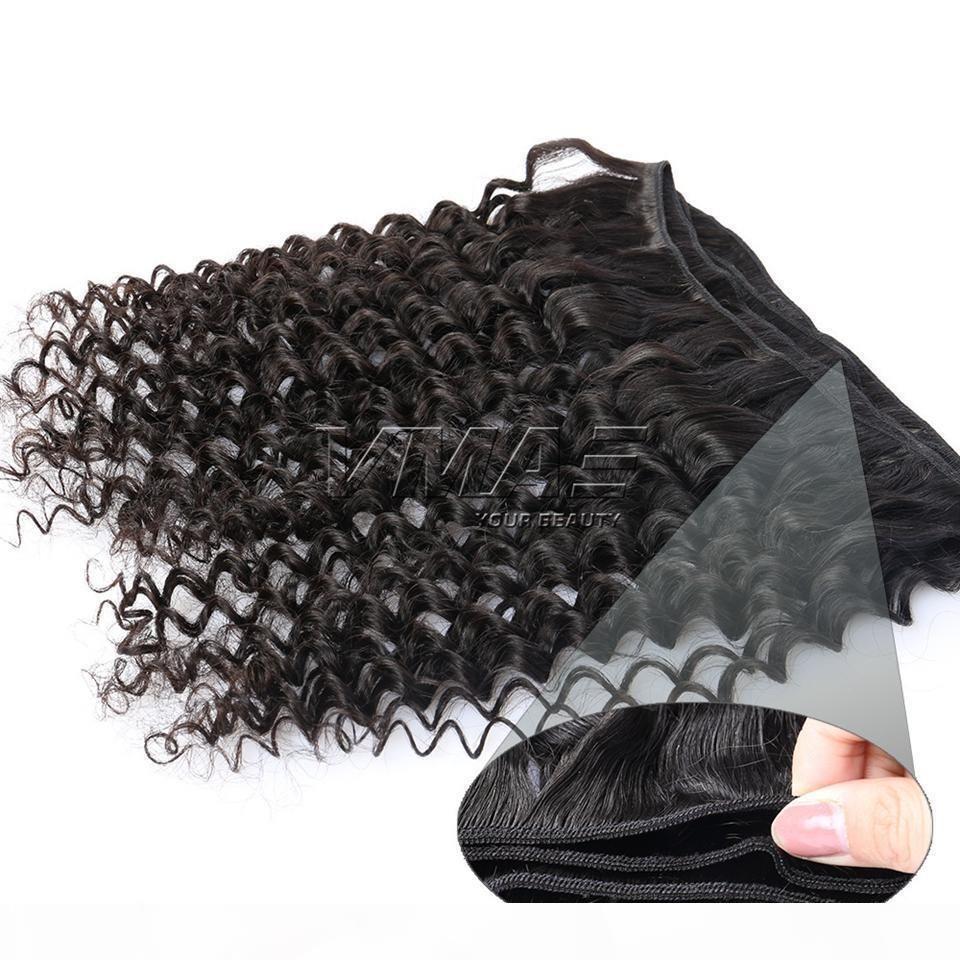 Pacotes de ondas profundas peruanas 100g peça 3 partes 100% cabelo humano virgem cor natural onda profunda qualidade de alta qualidade VMAE cabelo