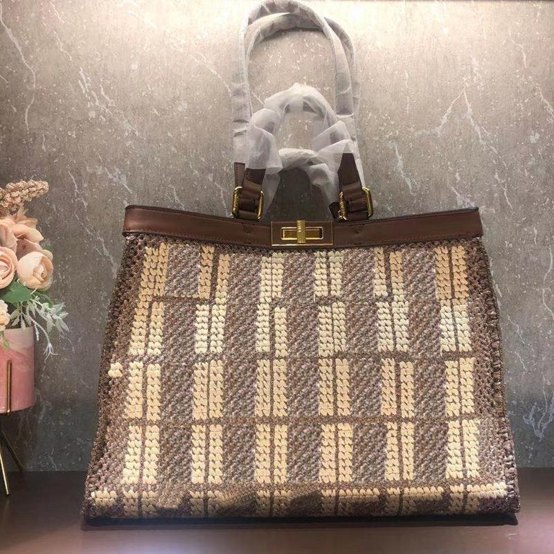 Ladies Tote Bag Large Capacity Package Shopping Bag Raffia Straw Crochet Handbag Purse Embroidery F letter Women Shoulder Bag Twist Lock New
