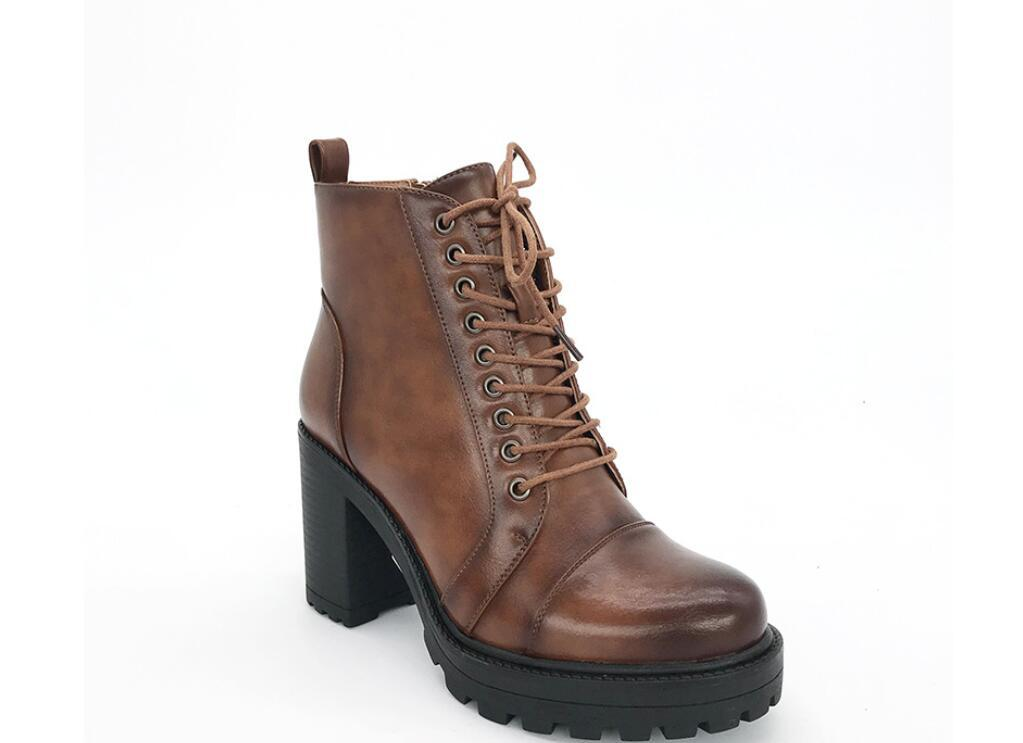 High heel boot pointed toe fashionable and soft lacing motorcycle Martin winter chunky shoes uxury designer desert size 36-410007