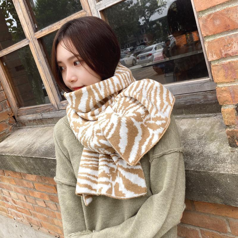 Scarves OUOI Fashion Long Warm Bib Autumn And Winter -selling Knitted Wool Color-blocking Zebra Leopard Scarf Striped1