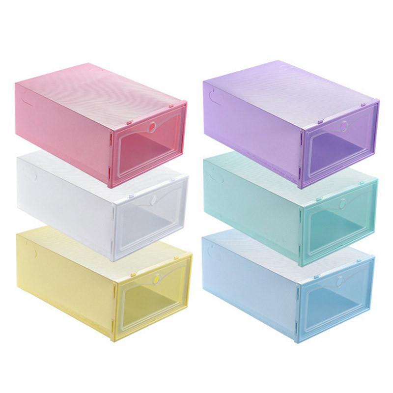 Pliable en plastique transparent Boîte à chaussures Thicken antipoussière chaussures tiroir Boîte de rangement Bonbons Couleur superposable chaussures Organisateur KKA2172