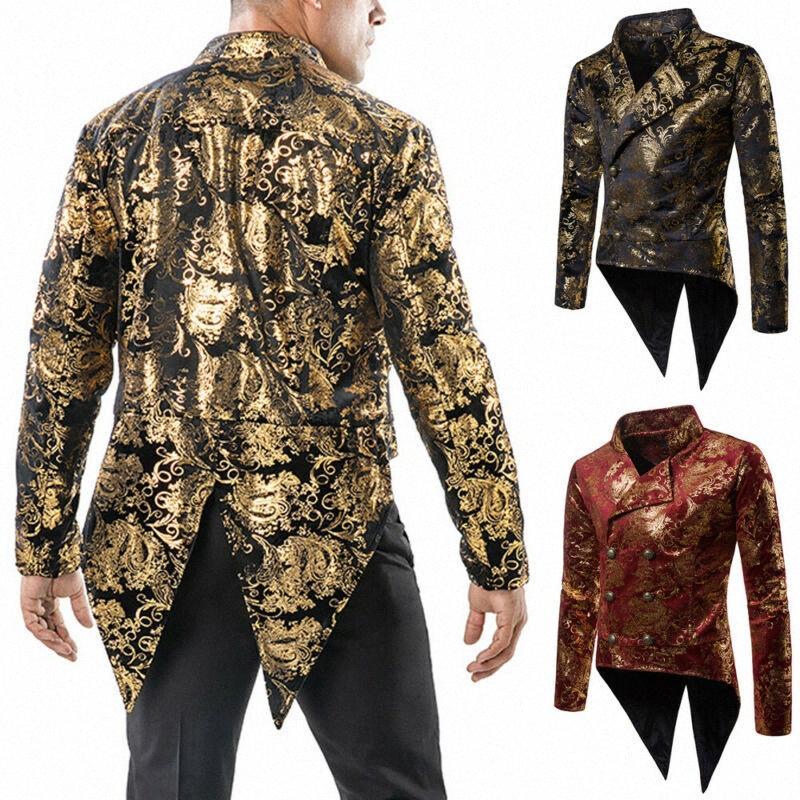 2020 2020 Uomini d'epoca lungo Blazer punk retrò Stampa Tuxedo Wedding Blazer Coat Plus Size autunno Moda Solid Club Windbreaker 18el #