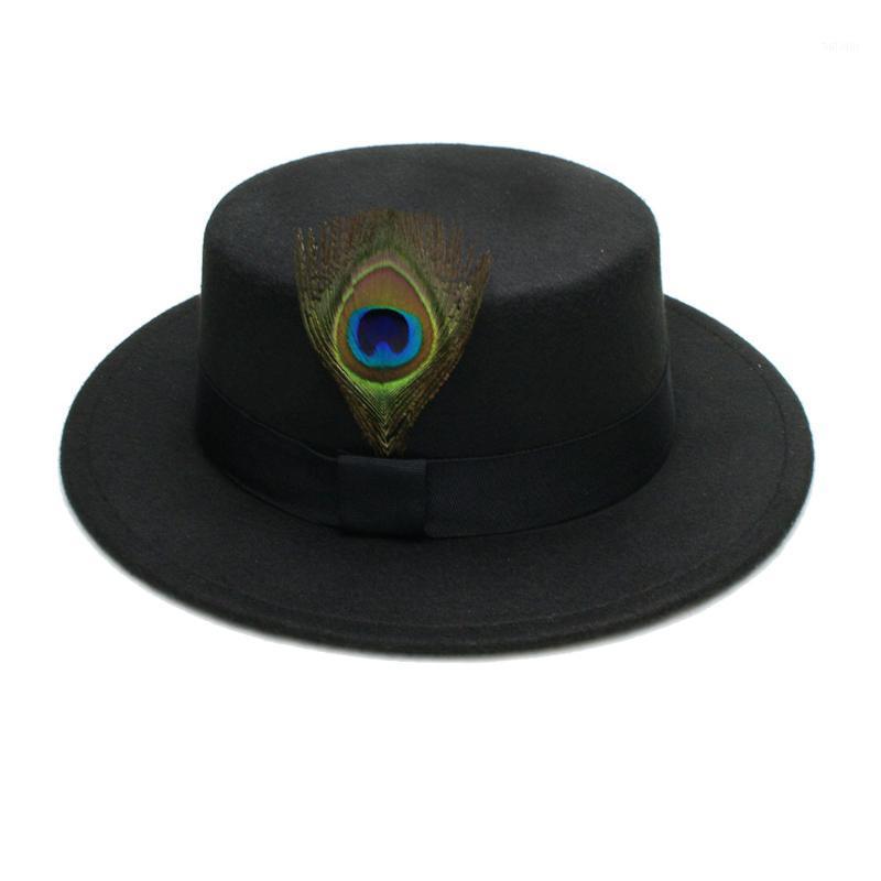 Luckylianji homens mulheres elegantes lã gentil sentiu grande borda chapéu de fedora com faixa simples ornamentos reais1